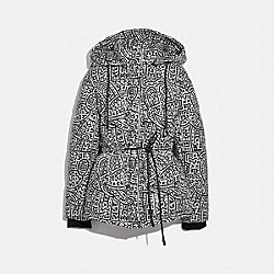 DISNEY MICKEY MOUSE X KEITH HARING LEATHER PUFFER JACKET - BLACK/WHIT - COACH 6043