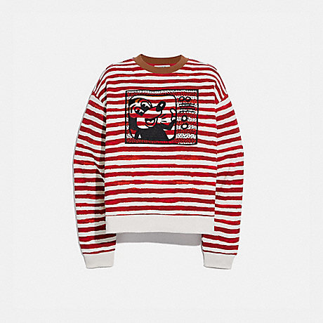 COACH 6046 DISNEY MICKEY MOUSE X KEITH HARING CREWNECK RED/WHITE