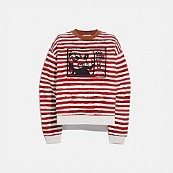DISNEY MICKEY MOUSE X KEITH HARING CREWNECK - 6046 - RED/WHITE