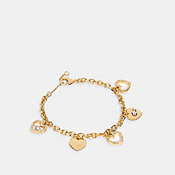 HEART MULTI CHARM BRACELET - 6065 - GD/GOLD QUARTZ