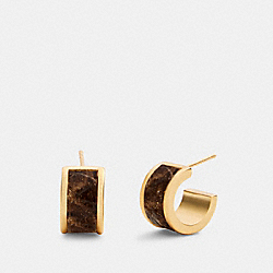 COACH 6108 Huggie Earrings GD/CHALK