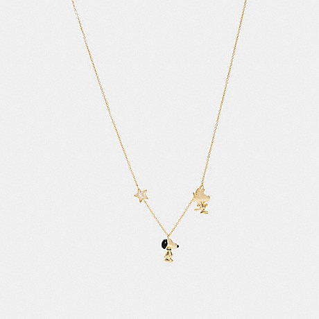 COACH 6126 COACH X PEANUTS SNOOPY AND WOODSTOCK LONG NECKLACE GD/MULTICOLOR