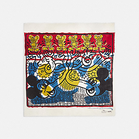 COACH 6144 DISNEY MICKEY MOUSE X KEITH HARING OVERSIZED SQUARE SCARF BLUE/RED