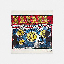 DISNEY MICKEY MOUSE X KEITH HARING OVERSIZED SQUARE SCARF - BLUE/RED - COACH 6144