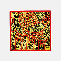 DISNEY MICKEY MOUSE X KEITH HARING SILK BANDANA - 6150 - ELECTRIC RED/YELLOW
