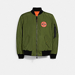 COACH 6195 Coach X Michael B. Jordan Reversible Ma-1 Jacket GREEN / ORANGE SIGNATURE