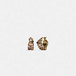 COACH 6300 - CRYSTAL TEA ROSE HUGGIE EARRINGS GD/NEUTRAL