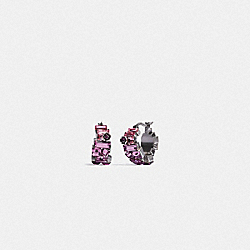 CRYSTAL TEA ROSE HUGGIE EARRINGS - SV/PURPLE - COACH 6300