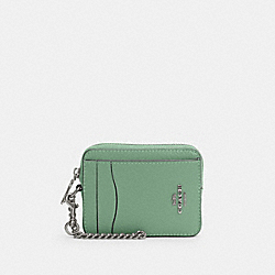 COACH 6303 - ZIP CARD CASE SV/WASHED GREEN