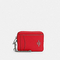 COACH 6303 - ZIP CARD CASE SV/BRIGHT POPPY