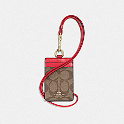 COACH 63274 Id Lanyard In Signature Canvas IM/KHAKI POPPY