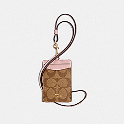 COACH 63274 Id Lanyard In Signature Canvas IM/KHAKI BLOSSOM