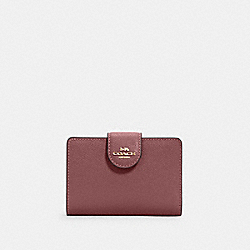COACH 6390 - MEDIUM CORNER ZIP WALLET IM/VINTAGE MAUVE