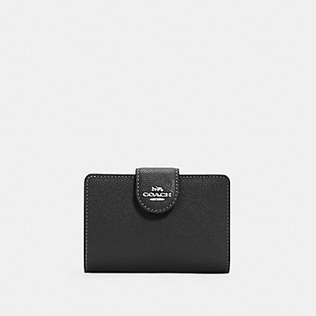 COACH 6390 MEDIUM CORNER ZIP WALLET SV/BLACK