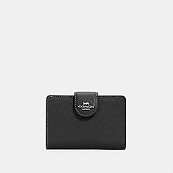 COACH 6390 - MEDIUM CORNER ZIP WALLET SV/BLACK