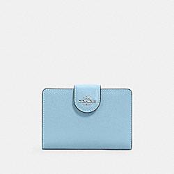 COACH 6390 Medium Corner Zip Wallet SV/WATERFALL