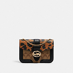 GEORGIE CROSSBODY IN SIGNATURE CANVAS WITH LEOPARD PRINT - 6421 - IM/LIGHT SADDLE/ KHAKI MULTI