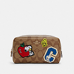 COACH 6440 Coach X Peanuts Small Boxy Cosmetic Case In Signature Canvas With Varsity Patches IM/KHAKI MULTI