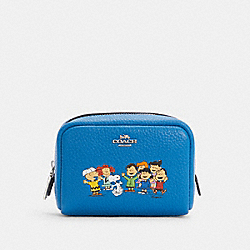 COACH 6447 Coach X Peanuts Mini Boxy Cosmetic Case With Snoopy And Friends SV/VIVID BLUE