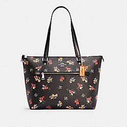 GALLERY TOTE WITH WILDFLOWER PRINT - 6474 - SV/BLACK MULTI