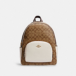 COACH 6495 - LARGE COURT BACKPACK IN SIGNATURE CANVAS IM/KHAKI/CHALK