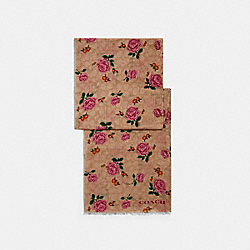 SIGNATURE PRAIRIE ROSE PRINT OBLONG SCARF - LIGHT KHAKI - COACH 661