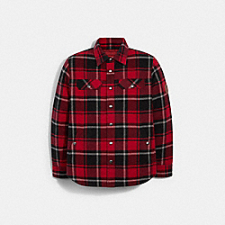 COACH 6632 - QUILTED PLAID SHIRT JACKET CHERRY PLAID