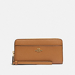 COACH 6643 - ACCORDION ZIP WALLET WITH WRISTLET STRAP IM/LIGHT SADDLE