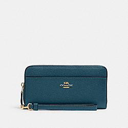COACH 6643 - ACCORDION ZIP WALLET WITH WRISTLET STRAP IM/PEACOCK