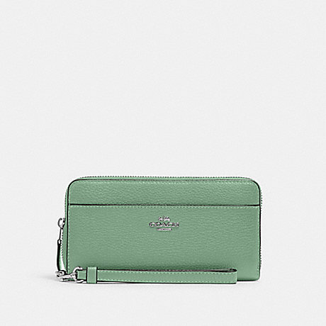 COACH ACCORDION ZIP WALLET WITH WRISTLET STRAP - SV/WASHED GREEN - 6643