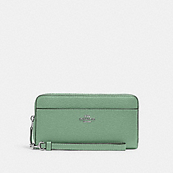 COACH 6643 - ACCORDION ZIP WALLET WITH WRISTLET STRAP SV/WASHED GREEN