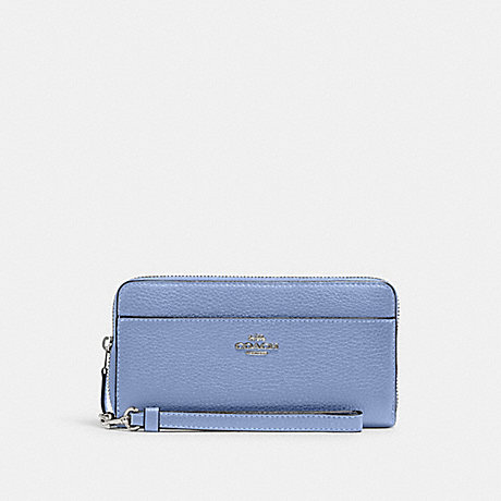 COACH 6643 ACCORDION ZIP WALLET WITH WRISTLET STRAP SV/PERIWINKLE