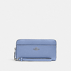 ACCORDION ZIP WALLET WITH WRISTLET STRAP - 6643 - SV/PERIWINKLE