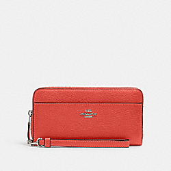 COACH 6643 - ACCORDION ZIP WALLET WITH WRISTLET STRAP SV/TANGERINE