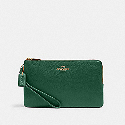 COACH 6644 Double Zip Wallet IM/KELLY GREEN