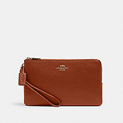COACH 6644 - DOUBLE ZIP WALLET IM/REDWOOD