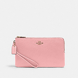 COACH 6644 - DOUBLE ZIP WALLET IM/BUBBLEGUM