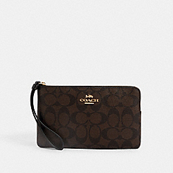 COACH 6648 - LARGE CORNER ZIP WRISTLET IN SIGNATURE CANVAS IM/BROWN BLACK