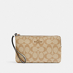 LARGE CORNER ZIP WRISTLET IN SIGNATURE CANVAS - 6648 - IM/LIGHT KHAKI CHALK