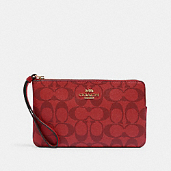 COACH 6648 Large Corner Zip Wristlet In Signature Canvas IM/1941 RED