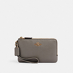 COACH 6649 Double Corner Zip Wristlet IM/HEATHER GREY
