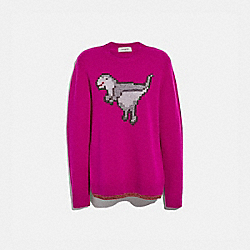 COACH 66534 Pixel Rexy Sweater MAGENTA