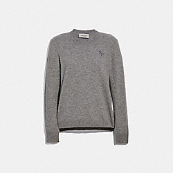 COACH 66535 - REXY PATCH CREWNECK GREY MELANGE