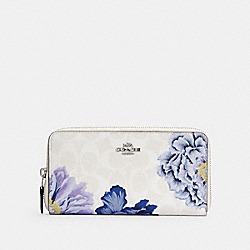 ACCORDION ZIP WALLET IN SIGNATURE CANVAS WITH KAFFE FASSETT PRINT - 6656 - SV/CHALK MULTI/PERIWINKLE