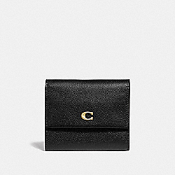COACH 66571 - SMALL FLAP WALLET BLACK/BRASS