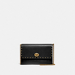 COACH 66610 - MARLOW TURNLOCK CHAIN CROSSBODY IN SIGNATURE LEATHER WITH RIVETS B4/BLACK