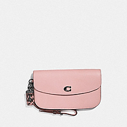 CLUTCH WITH SNAKESKIN DETAIL - BLOSSOM/PEWTER - COACH 66611