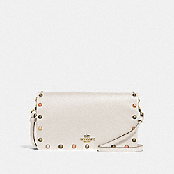 COACH 66613 - HAYDEN FOLDOVER CROSSBODY CLUTCH WITH RIVETS CHALK/GOLD