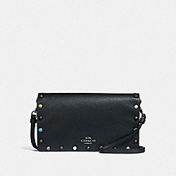 COACH 66613 - HAYDEN FOLDOVER CROSSBODY CLUTCH WITH RIVETS MIDNIGHT NAVY/GUNMETAL
