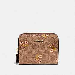 COACH 66619 Small Zip Around Wallet In Signature Canvas With Floral Print B4/TAN